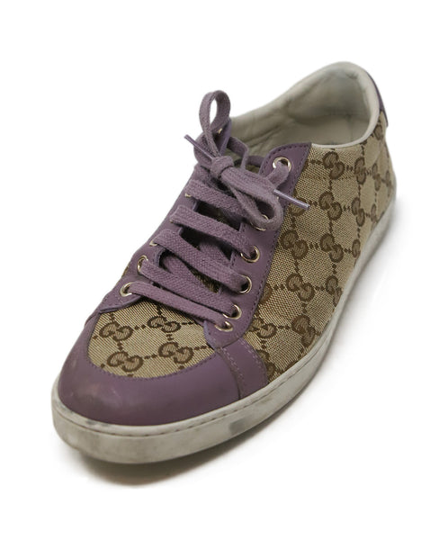 Gucci Beige Canvas Lilac Leather Monogram Sneakers 1