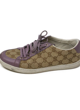 Gucci Beige Canvas Lilac Leather Monogram Sneakers 2