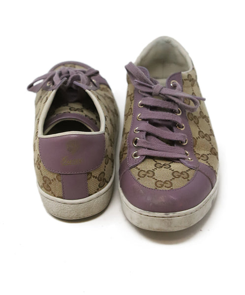Gucci Beige Canvas Lilac Leather Monogram Sneakers 3