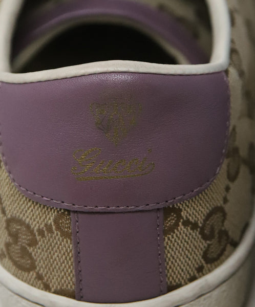 Gucci Beige Canvas Lilac Leather Monogram Sneakers 4