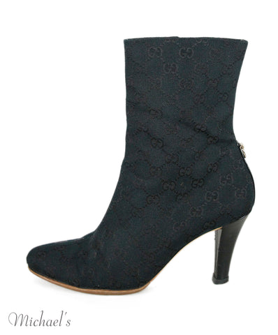 Gucci Black Canvas Booties Sz 38.5