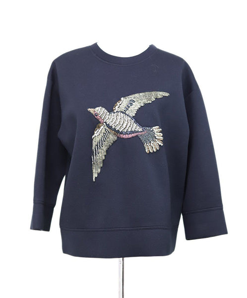 Gucci Black Sweater with Rhinestones Bird Design Sz 10