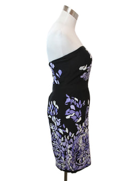 Gucci Black Silk Purple White Sequins Dress 2