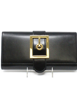 Gucci Black Leather Lady Buckle Clutch
