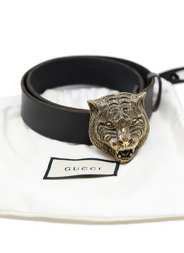 Gucci Black Leather Gold Metal W/Dust Cover Belt 1