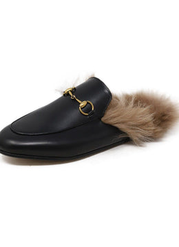 Gucci Black Leather Gold Toggle Fur Lining Shoes 1
