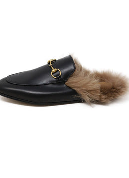 Gucci Black Leather Gold Toggle Fur Lining Shoes 2