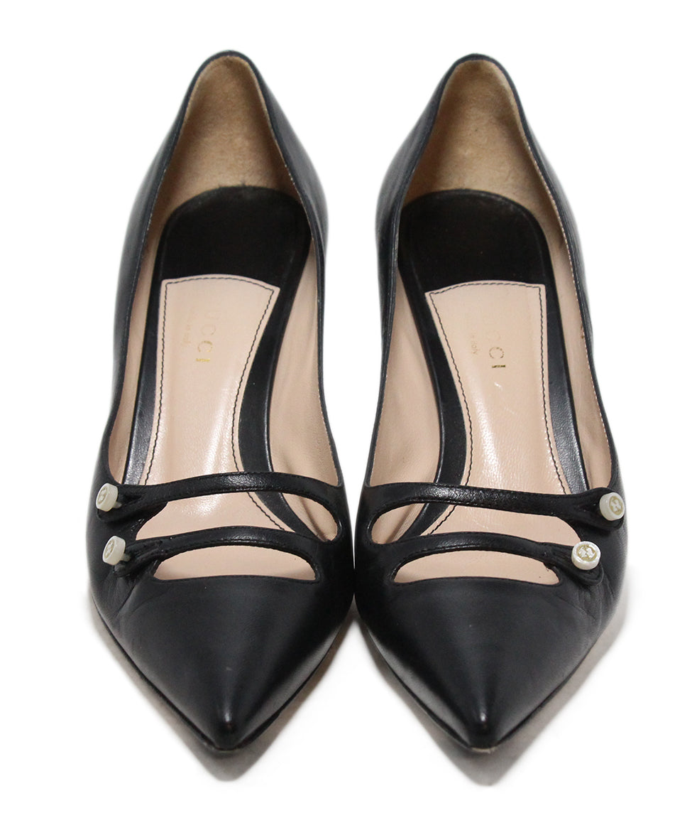 Gucci Black Leather Heels 4