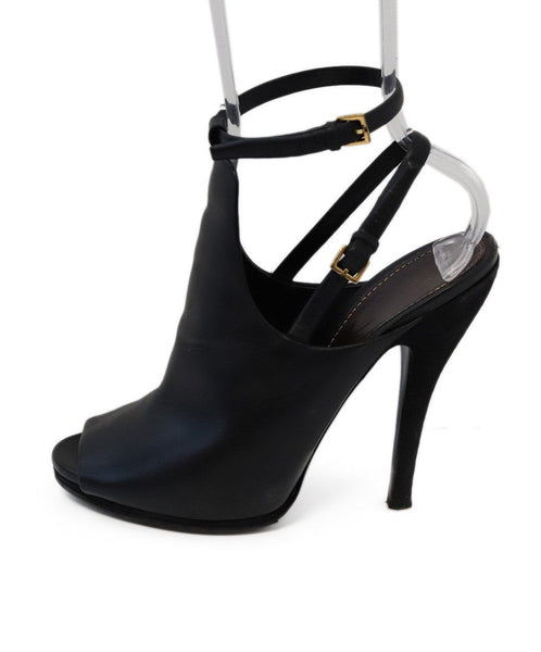 Gucci Black Leather Suede Heels 1
