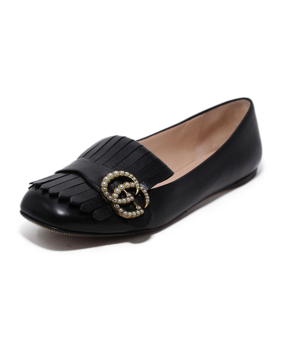 Gucci Black Leather Pearl Buckle Flats 1