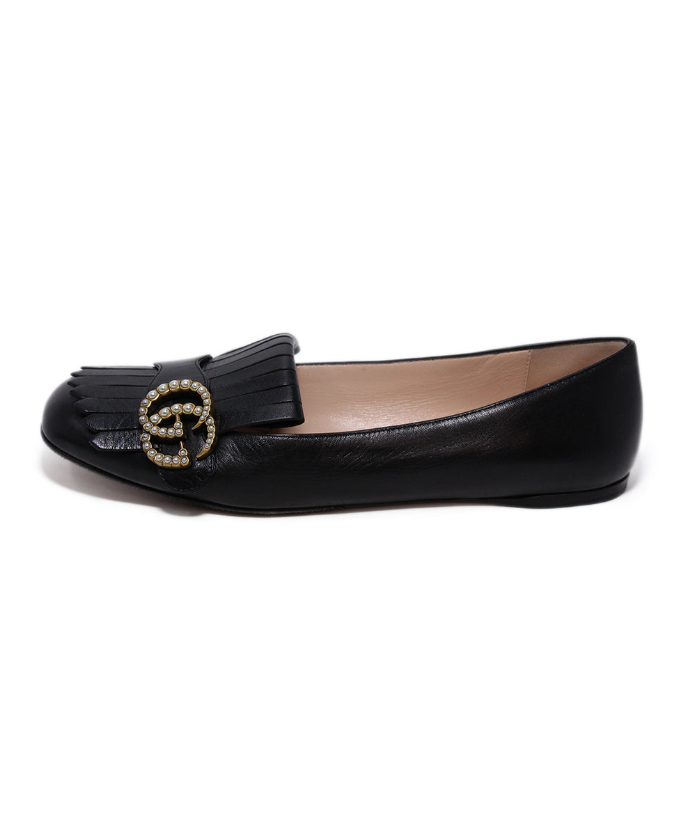 Gucci Black Leather Pearl Buckle Flats 2