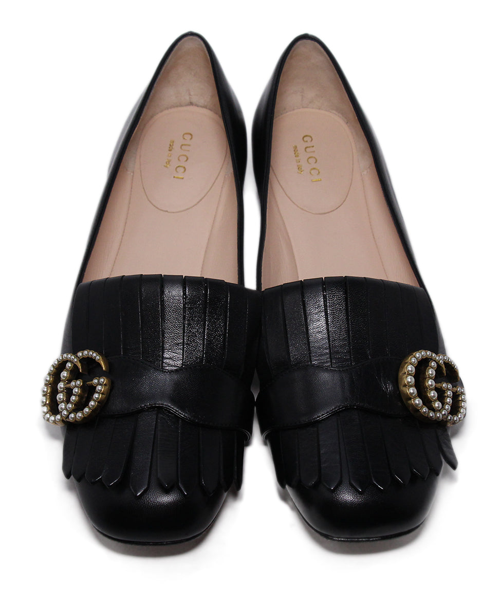 Gucci Black Leather Pearl Buckle Flats 4