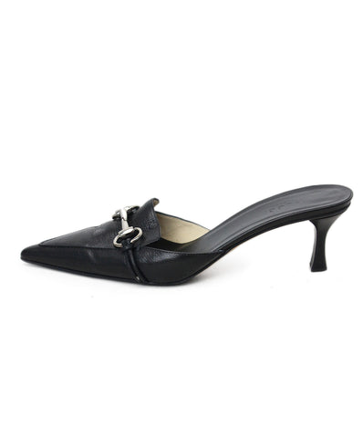 Gucci Black Leather Toggle Mules 1