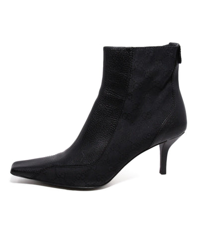 Gucci Black Monogram leather trim booties 1
