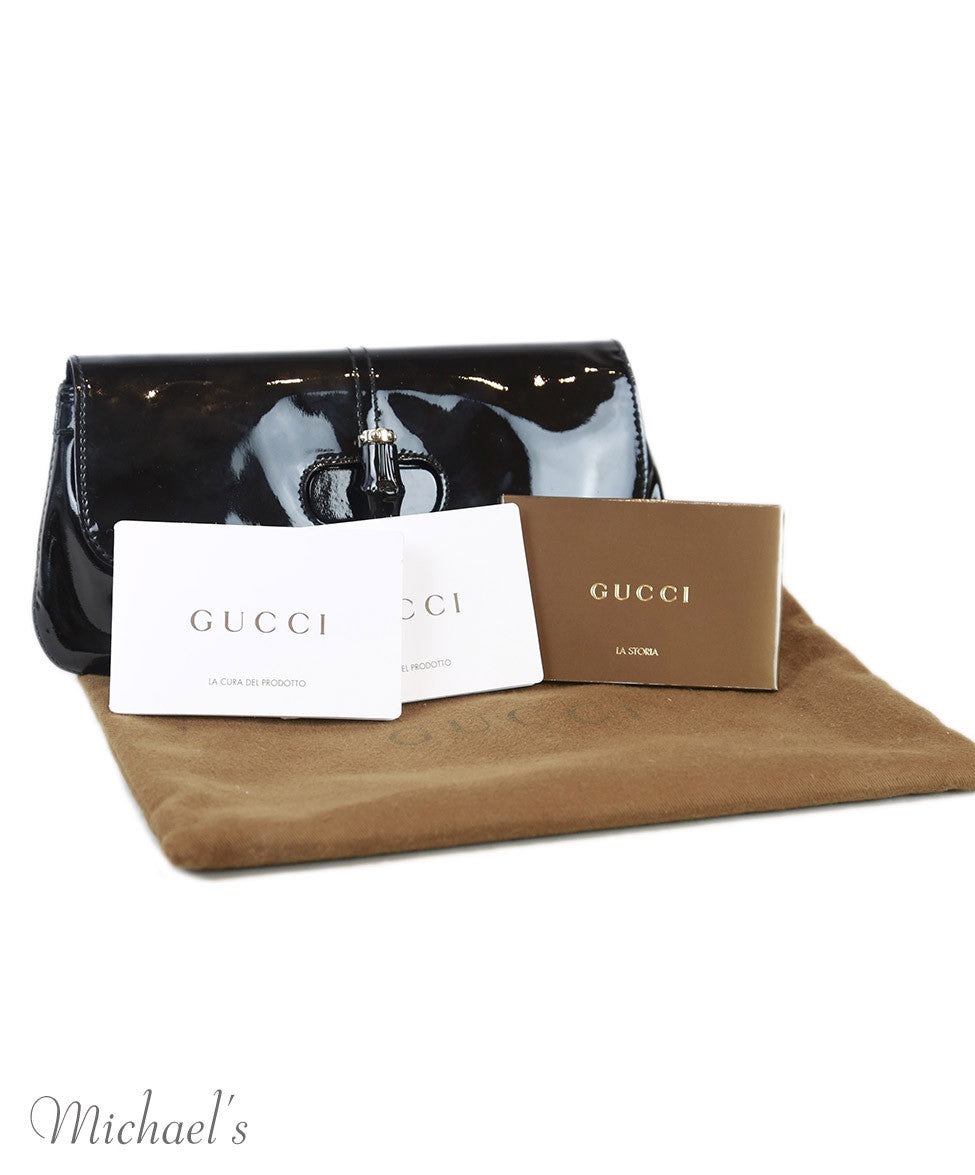 Clutch Turn lock Gucci Black Patent Leather Bamboo W/Dust Cover Handbag