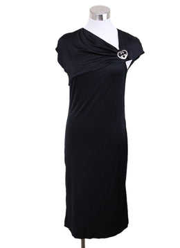 Gucci Black Polyamide Silver Trim Metallic Dress