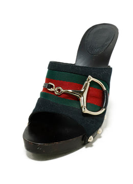 Gucci Black Wood Red Green Canvas Sandals 1