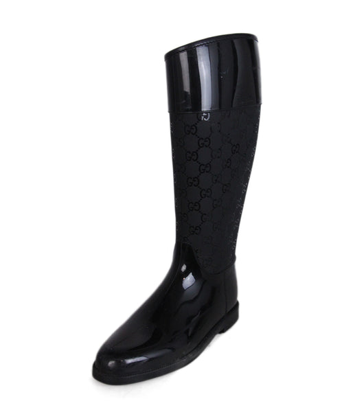 Gucci Black Rubber Monogram Boots 1