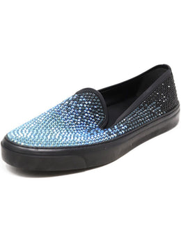 Gucci Black Slip on Sneakers with Blue and Black Rhinestones