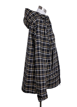 Gucci Black White Beige Plaid Polyamide Rain Coat 2