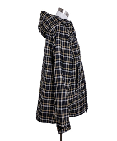 Gucci Black White Beige Plaid Polyamide Rain Coat 1