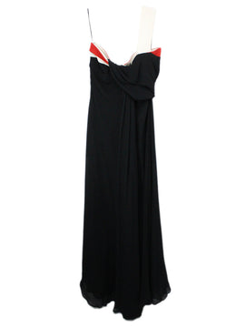 Gucci Black White Silk Red Trim Evening Dress 2
