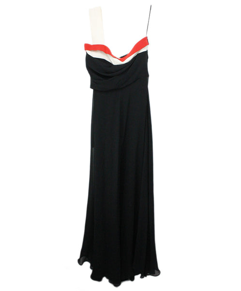 Gown Gucci Size 4 Black White Silk Red Trim Evening Sp 21 Storage Dress