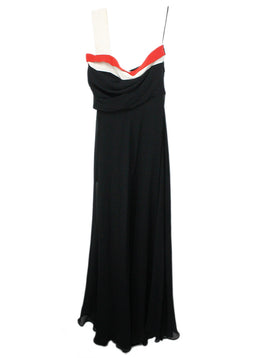 Gucci Black White Silk Red Trim Evening Dress 1