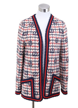 Gucci White Red Blue Plaid Wool Jacket