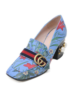 Gucci Blue Floral Leather Pearl Trim Shoes