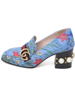 Gucci Blue Floral Leather Pearl Trim Shoes 1