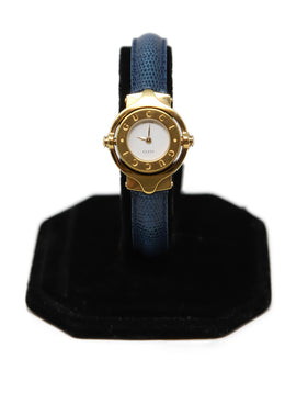 Gucci Blue Leather Gold Metal Trim Vintage Watch 1