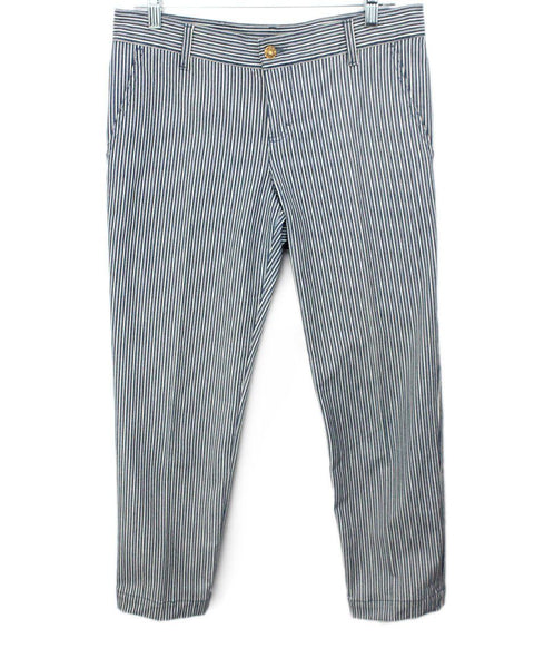 Gucci Blue and White Striped Denim Pants 1