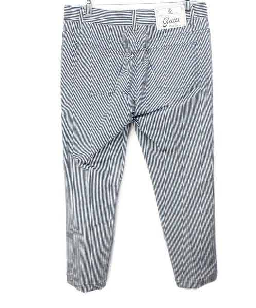 Gucci Blue and White Striped Denim Pants 2