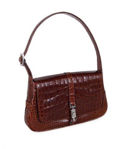 Gucci Brown Cognac Alligator Shoulder Bag 1