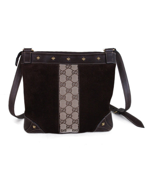 Gucci Brown Leather Monogram Suede Bag 1