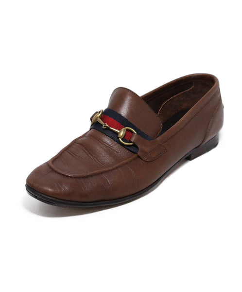 Gucci Brown Leather Ribbon trim Loafers 1