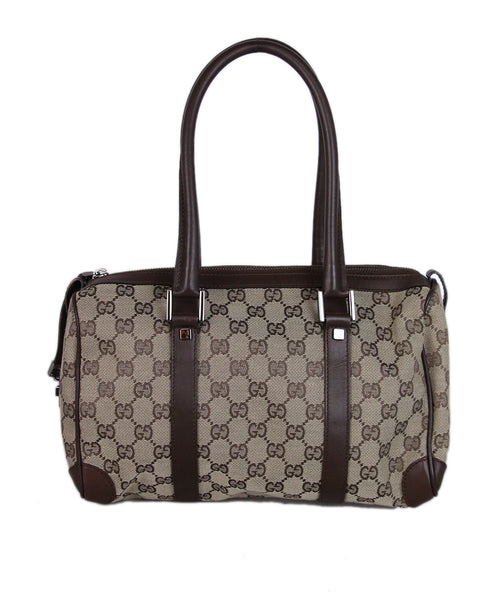 Gucci Brown Monogram Canvas Leather Handbag 1