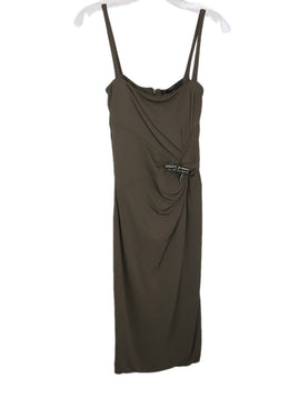 Gucci Brown Viscose Rayon Rhinestones Dress 1