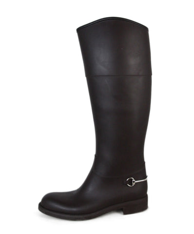 Gucci Brown Rubber Boots 1