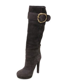 Gucci Brown Suede Gold Buckle Trim Boots