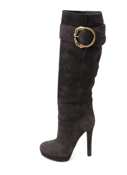 Gucci Brown Suede Gold Buckle Trim Boots 1