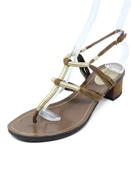 Gucci Brown Leather and Suede Sandals with Gold Accents 1