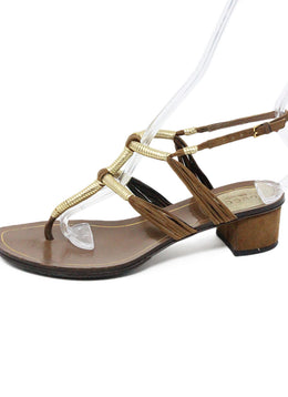Gucci Brown Leather and Suede Sandals with Gold Accents 2