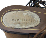 Gucci Brown Leather and Suede Sandals with Gold Accents 5