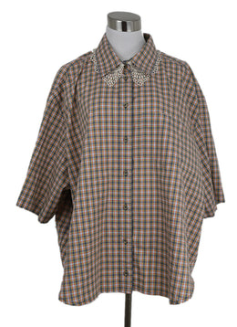 Gucci Multi Color Checked Cotton Button Up 1