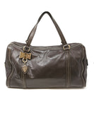 Gucci Chocolate Brown Leather Tan Stitching Handbag 1