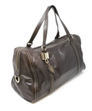 Gucci Chocolate Brown Leather Tan Stitching Handbag 2