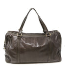 Gucci Chocolate Brown Leather Tan Stitching Handbag 3