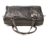 Gucci Chocolate Brown Leather Tan Stitching Handbag 5
